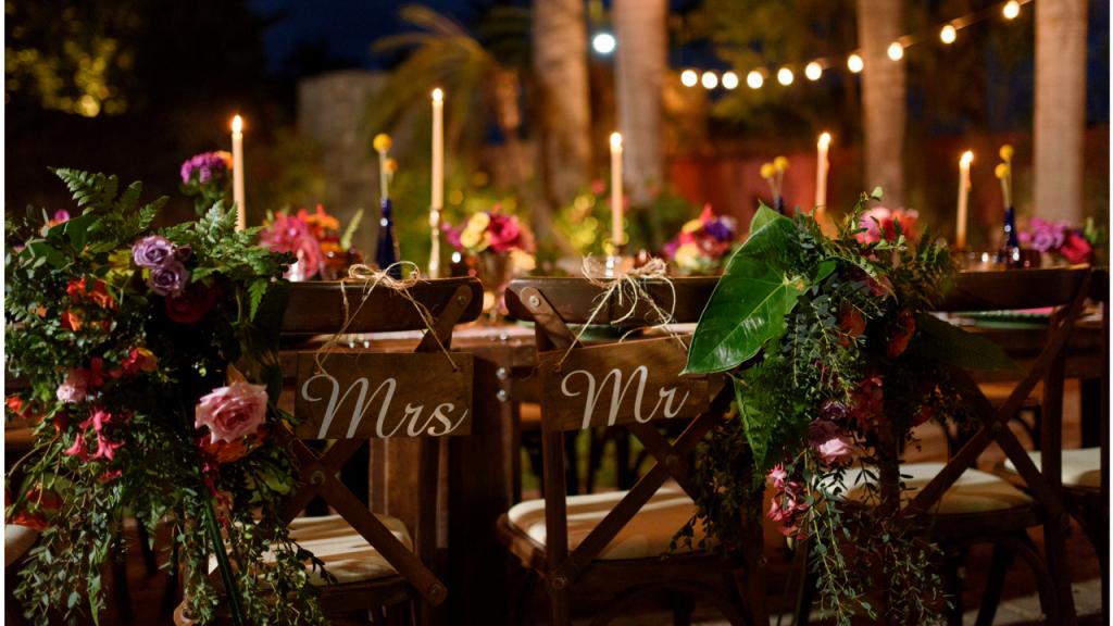 Mr & Mrs chairs Destination Wedding
