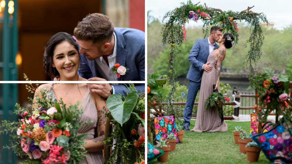 Beautiful garden ceremony with floral installation
